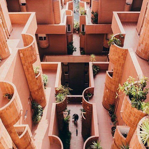 The Walden complex in Barcelona is a true architectural gem by Ricardo Bofill via trendland- symmetry, design, coral