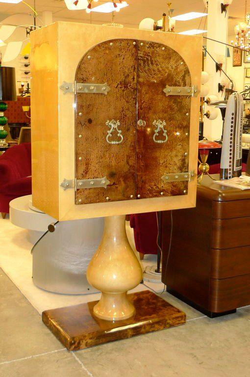 Aldo Tura Mirrored Cabinet Bar on Pedestal Stand 1950-60