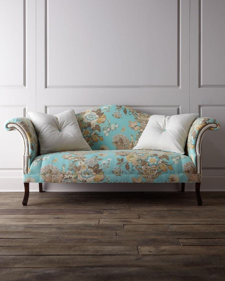 Jadda Sofa - Haute House (Into The Wild Sofa Fabric Pattern Upholstered Yellow Nailhead trim Blue Living room)