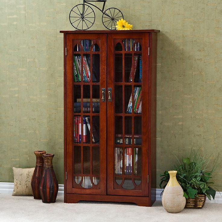 Have to have it. Southern Enterprises Glass Window Pane Media Cabinet Bookcase - Cherry $199.99