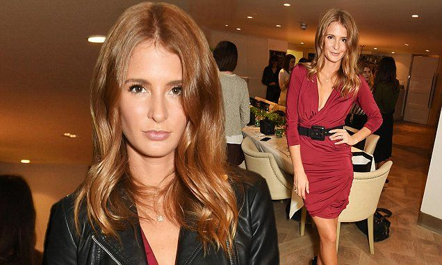Millie Macintosh flashes a hint of cleavage in a plunging red dress #Chandeliers