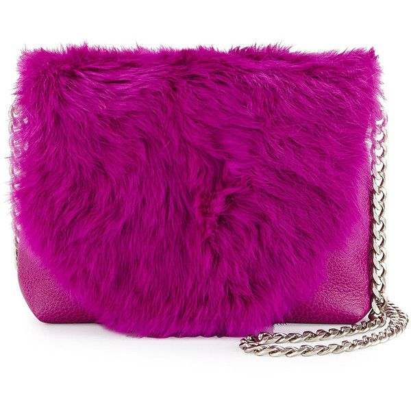 Foley + Corinna leather crossbody bag with dyed rabbit (China) fur flap.  Silvertone hardware.  Curb-chain shoulder strap, 23.5 drop.  Flap top with snap closu…