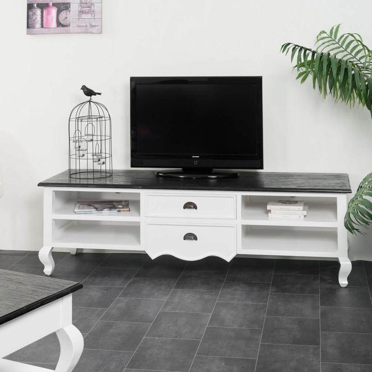 Ce meuble TV en acajou massif et en pin massif, est Idéal pour une déco romantique et classique dans votre salon. Les courbes de ce meuble de télévision en bois blanc et les rangements spacieux doté de 2 tiroirs et 4 niches offrent à votre pièce à vivre une ambiance boudoir ! Ajoutez le Buffet Idao et la table basse Idao de la même collection pour une harmonie parfaite dans votre intérieur. Dimensions du meuble Longueur : 170 cm Hauteur : 50 cm Profondeur : 50 cm