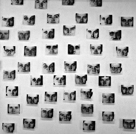 christian_boltanski Resistors, 1994 cropped photographs from original German mug shots of captured Reistence fighters.