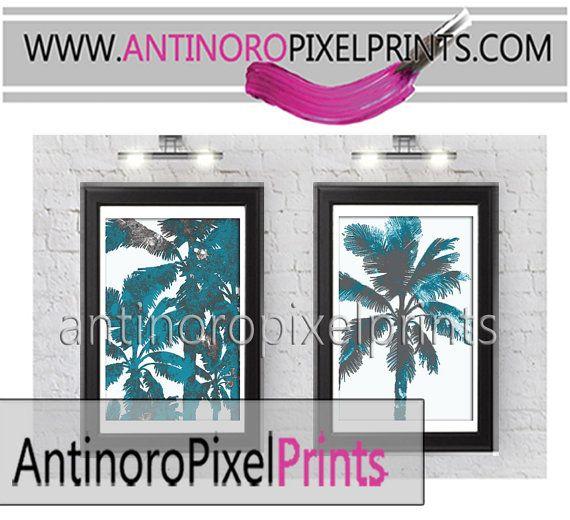 Set of Two California Palm Tree Watercolor by antinoropixelprints