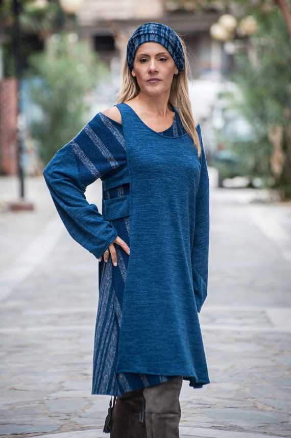 loose dress  slip double  navy blue by paraskeloufashion on Etsy