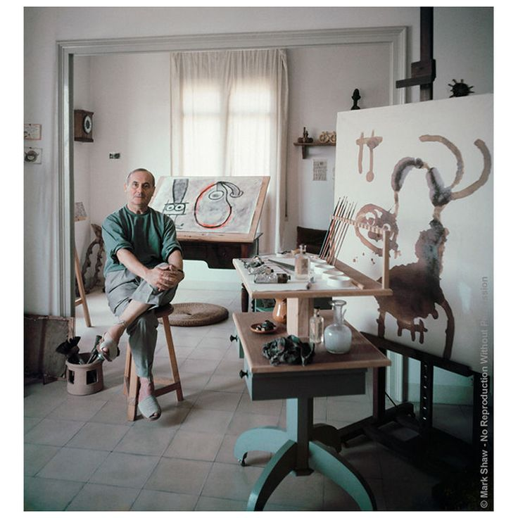 Portrait of Joan Miro in Studio #3-Editioned Photo by Mark Shaw