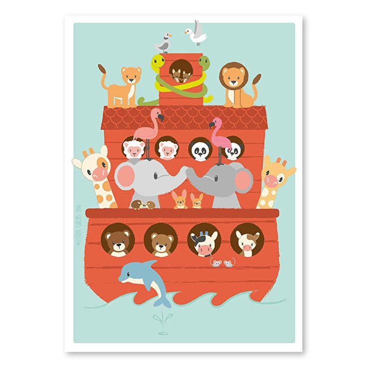 Poster ark van Noach Van alle dieren op de wereld nam dappere Noach er twee mee op zijn ark. Zoveel dat ze niet allemaal op deze mooie poster passen. Maar welke dieren zie je wel? Afmeting 50 x 70cm Kinderkamer Babykamer decoratie dieren boot zee geloof