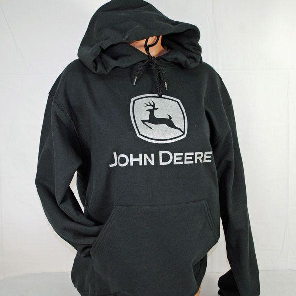 black John Deere hoodie with silver logo