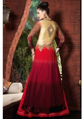 or, rouge, georgette marron costume Anarkali