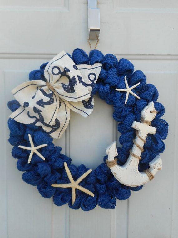 Nautical wreath Nautical burlap wreath Blue by ChloesCraftCloset
