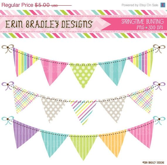 50% OFF SALE Springtime Bunting Banner Flag Clipart Clip Art Set Personal  Commercial Use