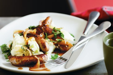 Looking for a hearty Irish recipe for St Patrick's Day? Try this delicious sausage and champ recipe.
