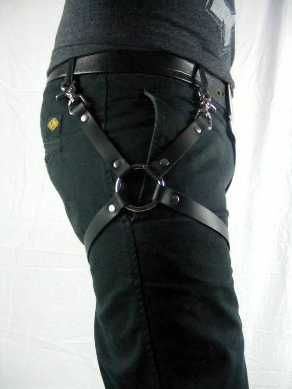 Leather Leg Harness Black by StarCreationsCa on Etsy