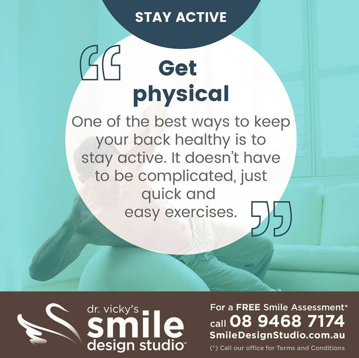 #HealthyTip — Stay active... Get physical. One of the best ways to keep your back heathy is to stay active. It doesn't have to be complicated, just quick and easy exercises. / For a Free Smile Assessment*, contact us at 08 9468 7174 - www.SmileDesignStudio.com.au / (*) Please call our office for Terms & Conditions. #DrVickyHo #perth #australia #smiledesignstudio #dentalpractice #cosmetic #dentistry #job #mosmanpark #stirlinghighway #tmj #services #implants #invisalign #zoom #whitening…