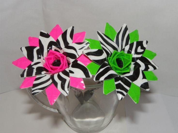 zebra print Duct tape flower pen.