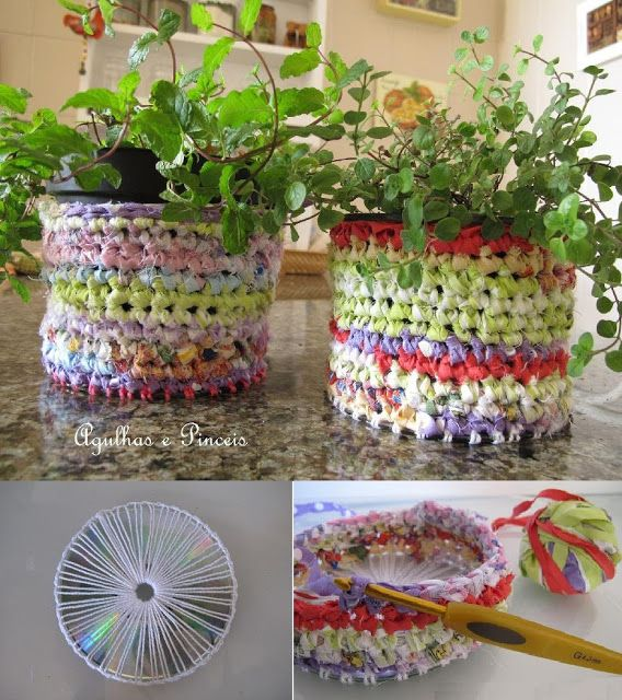 Ornamental flowerpots, rug, based CD recycled, i want to try this with plarn