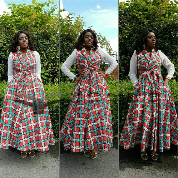 African print maxi dress. by YvonneYvettes on Etsy