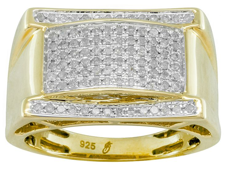 .50ctw Round Diamond 14k Yellow Gold Over Sterling Silver Gents Ring