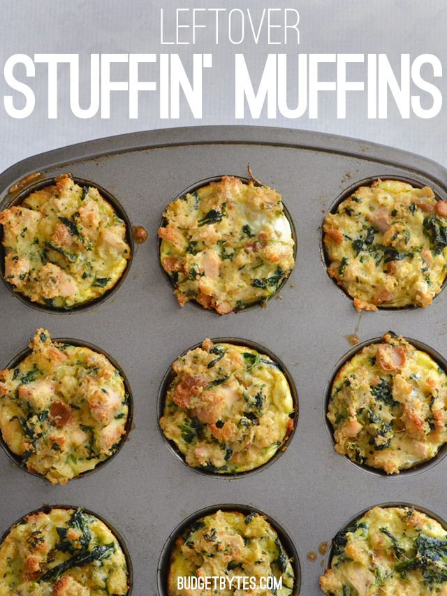 Repurpose those Thanksgiving leftovers with these Leftover Stuffin' Muffins - BudgetBytes.com