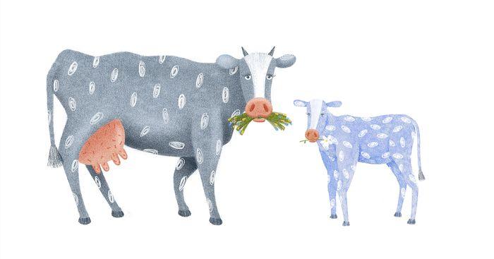 Сообщество иллюстраторов | Иллюстрация Корова с теленком ...
