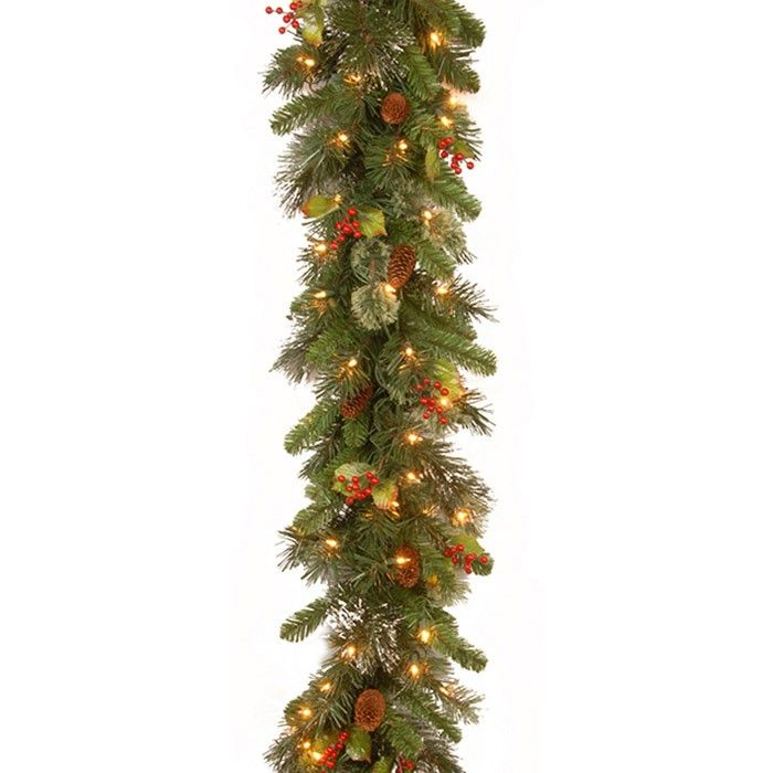 <p>This Wintry Pine Pre-Lit Garland is decorated with subtle glowing lights, holy leaves and berries. It has 100 warm white LEDs which are timer controlled so you can set them to come on for 6 hours and go off for 18.</p>