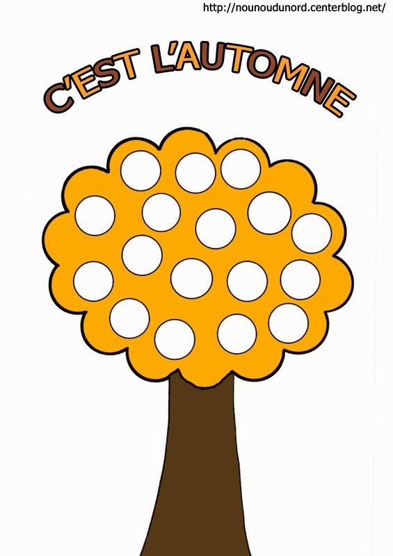 Arbre d'automne en couleur pour gommette http://nounoudunord.centerblog.net/rub-coloriage-automne-a-imprimer--2.html