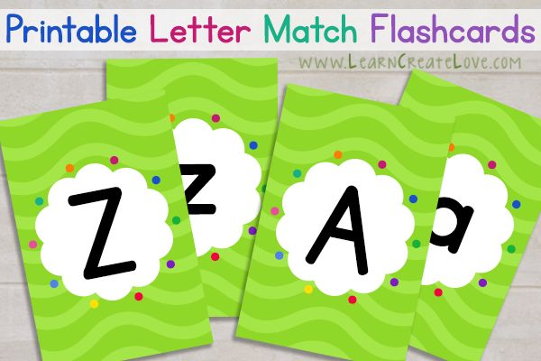 Printable Letter Match Flashcards!  Great for ABC sorting games!
