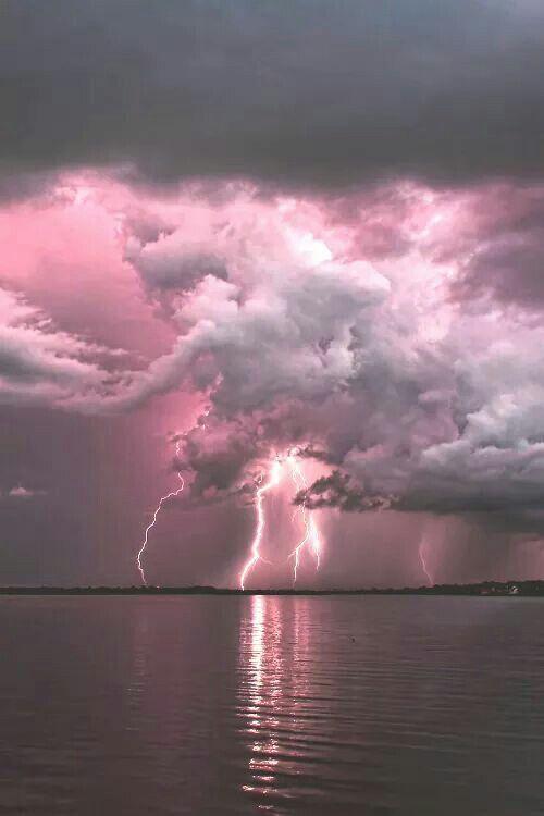 Pink Lightning!   thunderstorm     nature     amazingnature   #nature #amazingnature https://biopop.com/