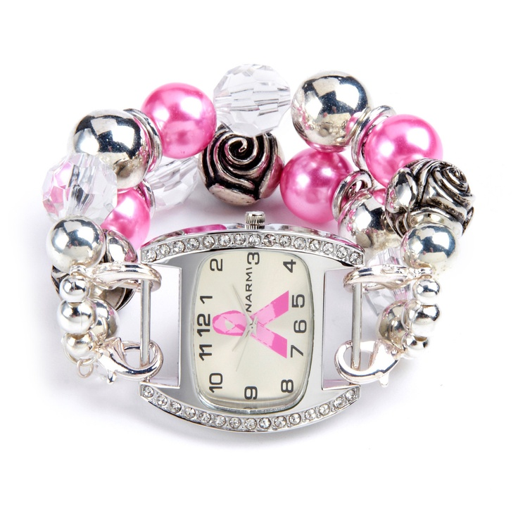 Double stranded white pink & silver interchangeable beaded watch - breast cancer awareness