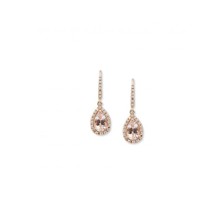 18ct Rose Gold Morganite And Diamond Teardrop Earrings