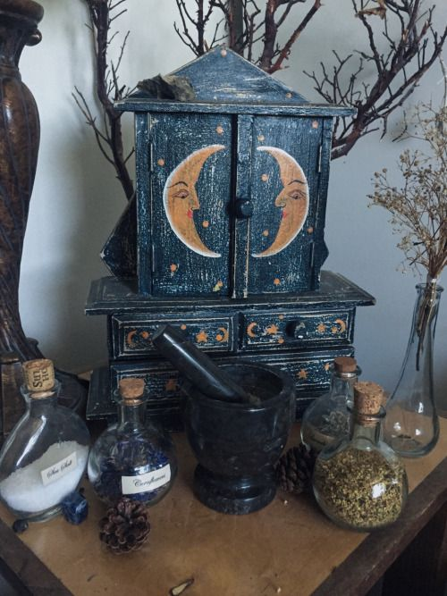 beautifully crafted cabinet to store all the witchery goodies and herbal recipes