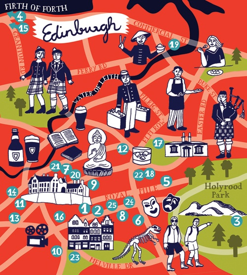 Edinburgh illustrated map with city tourist attractions – Scotland Tourist Attractions Map