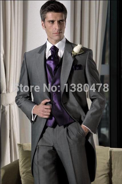 2016Suits Grey Groom Tuxedos Notch Lapel Best Man Suit Wedding Groomsman Men Wedding Suits Bridegroom Jacket+Pants+Vest+Tie