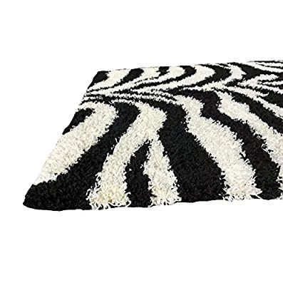 Soft Shag Area Rug 3x5 Zebra Black White Shaggy Rug - Contemporary Area Rugs for Living Room Bedroom Kitchen Decorative Modern Shaggy Rugs
