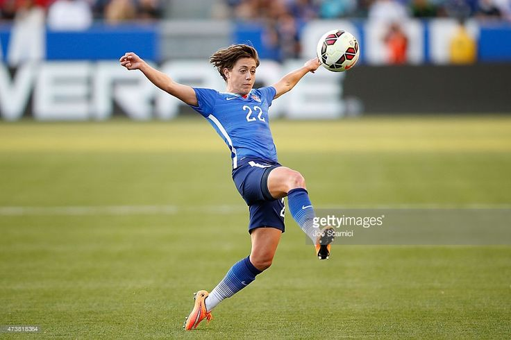 Defender Meghan Klingenberg #22 of USA reaches for a high ball in the first half against Mexico during their international friendly match at StubHub Center on May 17, 2015 in Los Angeles, California.