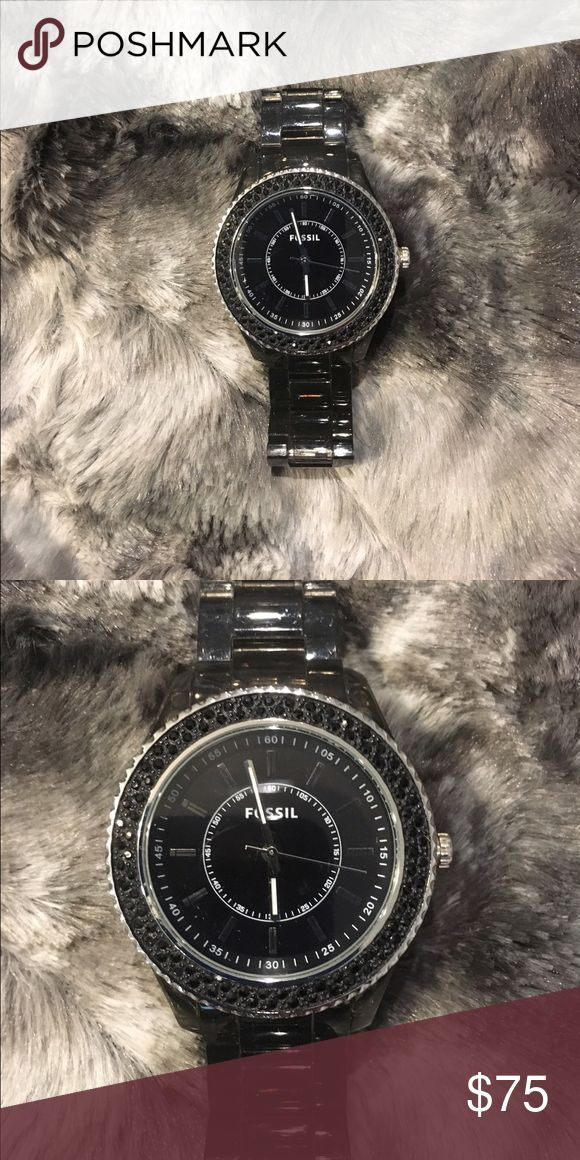 cool Montre pour femme : Black Fossil watch Black band and black pave CZ women's fossil watch Fossil ...