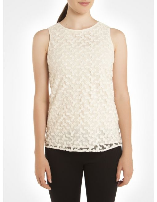 Floral lace sleeveless blouse - Natural Blouses