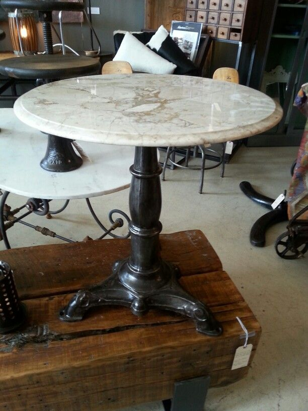 Marble Top Table On Vintage Cast Iron Base. Great End Table, Or Bistro  Style Table.