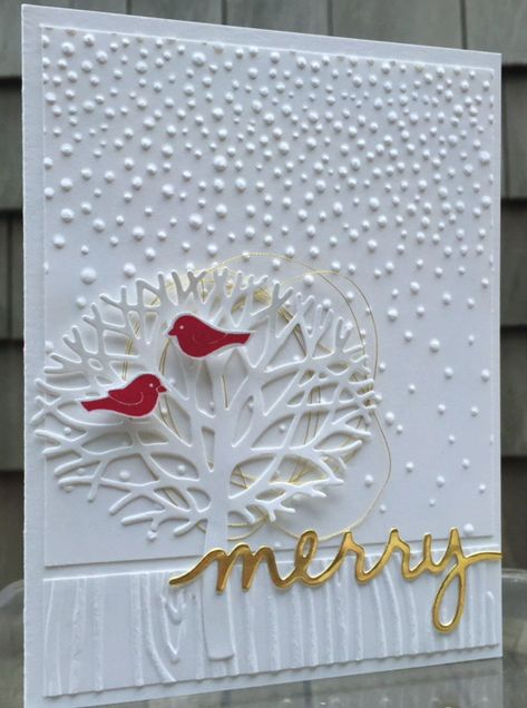 "My vision of ""A White Christmas"" using Stampin' Up's Thoughtful Branches, Christmas Greetings Thinlits and embossing folders. http://mailsomethingpretty.com/christmas-in-august/"