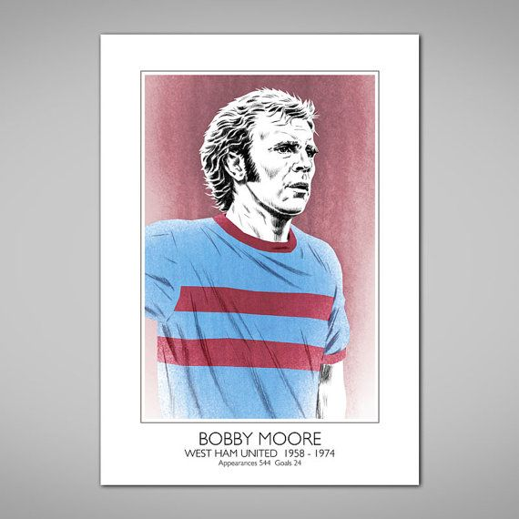 BOBBY MOORE West Ham United 1960's Football Legend Art Print, Claret and Blue Hammers Away Shirt,A and US size soccer posters, Gift, Present