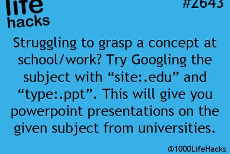 "google Try googling the subject line with ""site:.edu"" and ""type:.ppt"". This will give you powerpoint presentations on the given subject from universities."