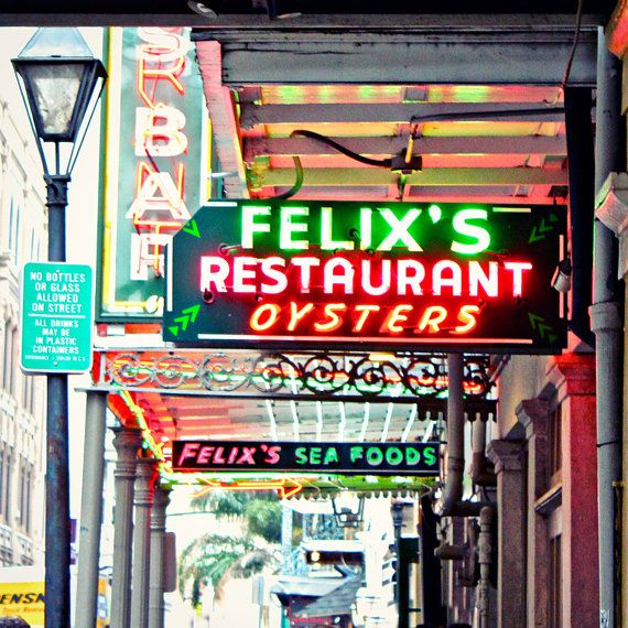 Felix's square fine art photograph print of New Orleans oyster restaurant by UninventedColors