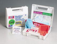 30 piece Bloodborne pathogen/personal protection kit w/ 6-piece CPR pack- plastic case- 1 ea.