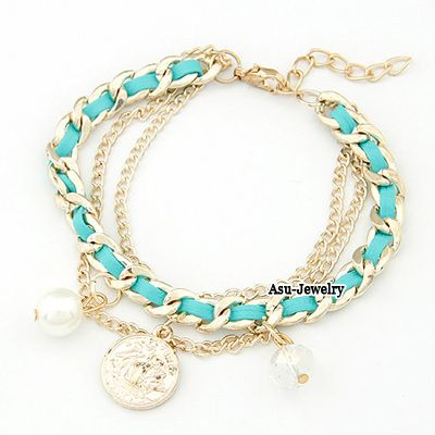Energie red key decorated double layer design alloy Korean Fashion Bracelet  www.asujewelry.com