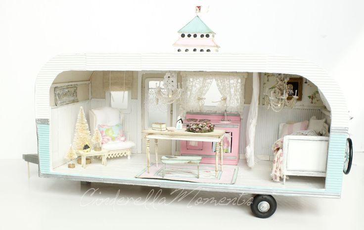 The Shabby Chic Trailer Dollhouse is completely custom made. Its a one of a kind. It has a coin cell battery and switch hidden under the birdhouse on the roof. The photos are not showing an accurate aqua. There is a touch more green mixed in with the blue than appears on the pictures. The trailer comes with everything you see in the photos. The furniture and accessories are not glued down. The only things that are glued are the mailbox and curtains. You will need to glue the front hitch once…