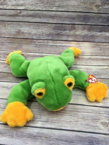 Ty Large Plush Beanie Buddy Smoochy Frog Buddies Retired