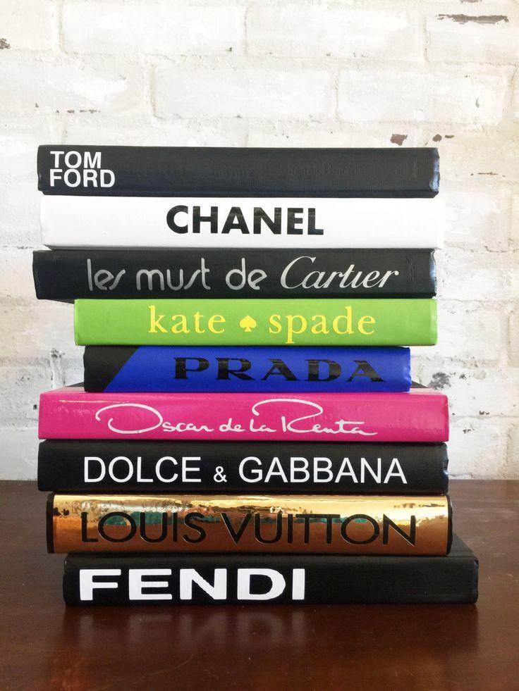TO PURCHASE, PLEASE SEND ME AN EMAIL OR MESSAGE ME ON ETSY: LindseyMandola@gmail.com shutthefrontdoorllc.etsy.com $149 CHANEL, LOUIS VUITTON, Tom Ford, Cartier, Kate Spade, Fendi, Oscar de la Renta, D&G, Fashion Designer Book Set, Book Set,Decorative Books by ShutTheFrontDoorLLC on Etsy