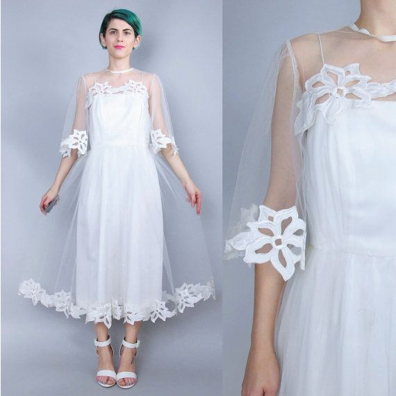 Vintage Tulle Wedding Dress Sheer Sleeves Lace Wedding Dress 1980s Wedding Gown Floral Cutwork Cut Outs Tea Length Button Up Back (XS)