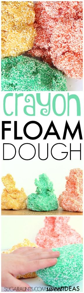 Make your own floam play dough using crayons to dye the dough!